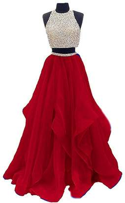 Sound of blossoming 2018 Two Pieces Beading Prom Dress Keyhole Back Formal Evening Gown Long 114