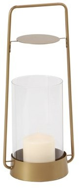 DecMode Decmode Modern 13 X 7 Inch Iron And Glass Candle Holder