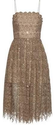 Alice + Olivia Sequined Metallic Macramé Lace Dress
