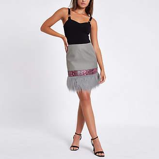 River Island Pink faux fur mini skirt
