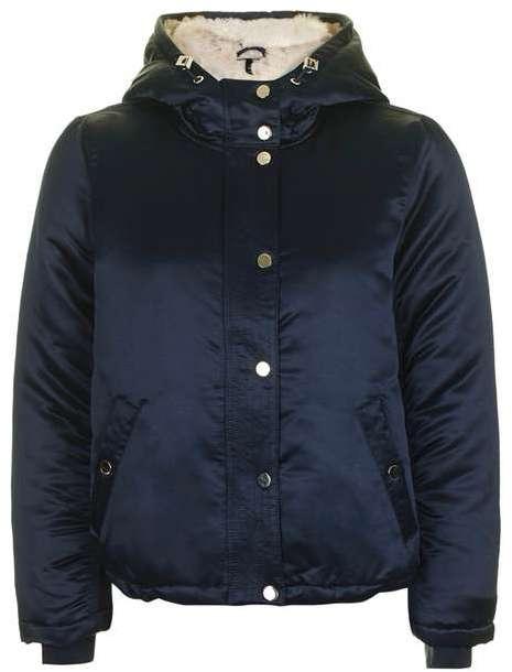 TopshopTopshop Satin faux fur lined jacket