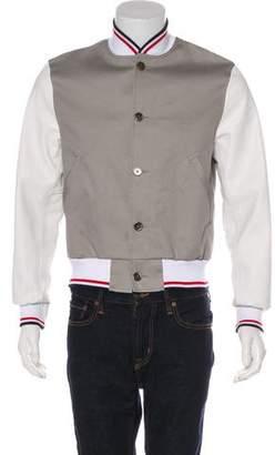 Thom Browne 2017 Leather-Trimmed Bomber Jacket