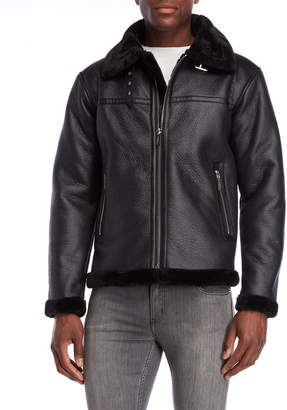Members Only Faux Fur Trim Moto Jacket