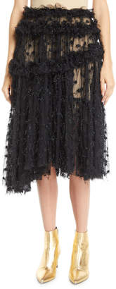 Anais Jourden Twinkle Shimmery Pleated Ruffle Tulle Skirt