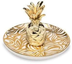 Lilly Pulitzer Swirling Floral Pineapple Ring Holder