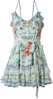 Camilla Rio Embellished Printed Silk Crepe De Chine Mini Dress - Mint