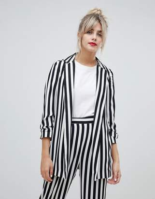 Asos DESIGN relaxed suit blazer in bold mono stripe