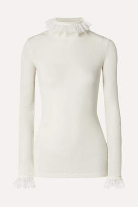 Philosophy di Lorenzo Serafini Lace-trimmed Ribbed Wool-blend Sweater - White