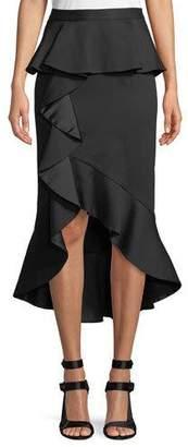 Alice + Olivia Alessandra Ruffled Peplum Pencil Skirt