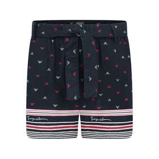 Armani Junior Armani JuniorGirls Navy Logo Patterned Shorts
