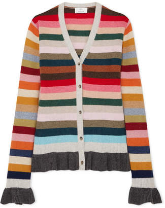 Allude Ruffled Striped Wool-blend Cardigan - Pink
