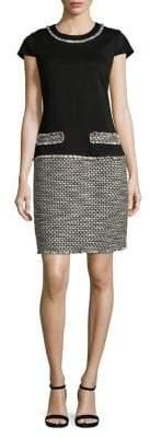 Karl Lagerfeld Paris Mixed-Media Cap-Sleeve Sheath Dress