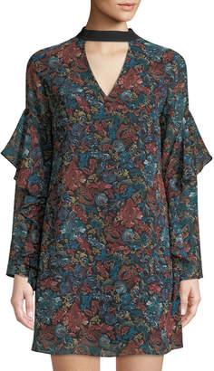 Sam Edelman Choker-Neck Printed Chiffon Shift Dress