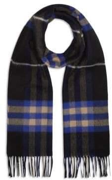 Burberry Men's Cashmere Checked Scarf - Bright Cobalt