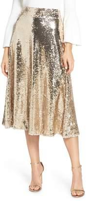 Eliza J Sequin Embellished A-Line Skirt