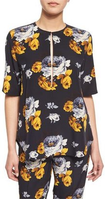 Theory Antazie Distressed Floral-Print Silk Top $275 thestylecure.com