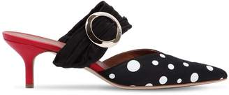45mm Maite Buckled Polka Dot Satin Mules