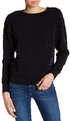 True Religion Distressed Embellished Boyfriend Sweatshirt