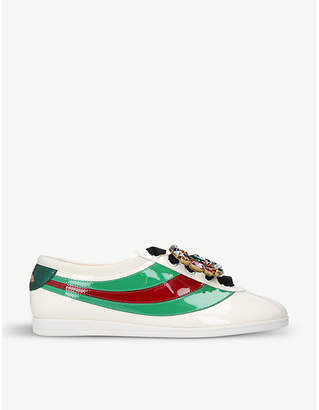 Gucci Falacer embellished patent-leather trainers