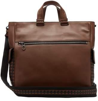 Bottega Veneta Intrecciato Check Leather Tote - Mens - Brown Multi