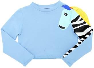Stella Jean Zebra Print Cotton Cropped Sweatshirt