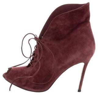 Gianvito Rossi Peep-Toe Suede Ankle Boots