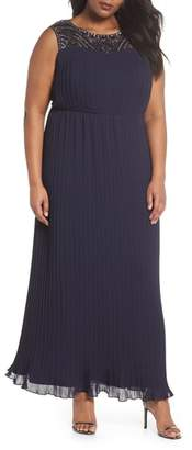 Alex Evenings Embellished Illusion Pleated Gown