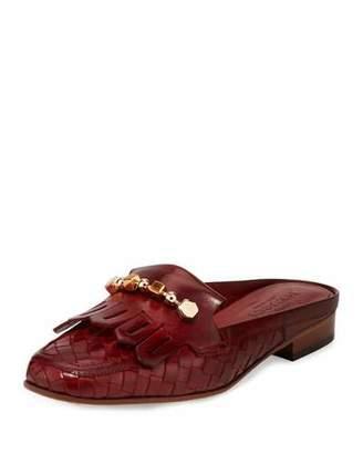 Sesto Meucci Maya Kiltie Woven Mule, Dark Red $275 thestylecure.com