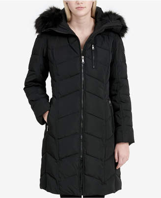 Calvin Klein Faux-Fur-Trim Hooded Chevron Puffer Coat, Created for Macy's