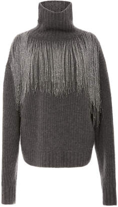 Sally LaPointe Beaded Fringe Cashmere And Silk-Blend Turtleneck Sweater