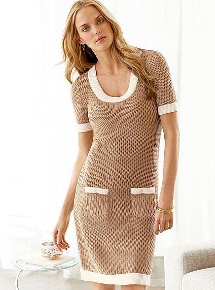 Victoria's Secret Contrast-trim scoopneck sweaterdress