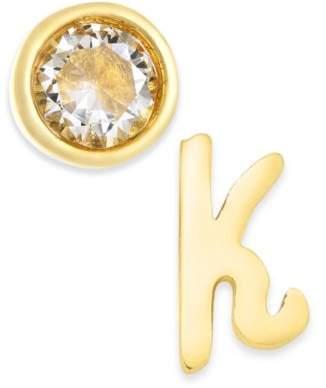 Kate Spade Gold-Tone Letter & Cubic Zirconia Mismatch Stud Earrings