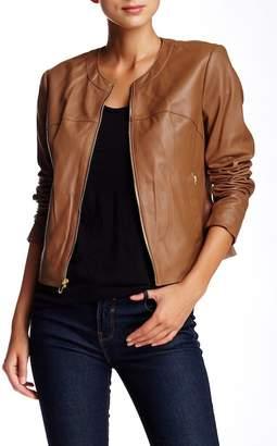 Via Spiga Collarless Leather Jacket