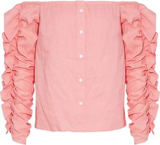 Petersyn Sienna Off-the-shoulder Ruffled Linen-blend Top