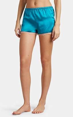 Fleur Du Mal Women's Lace-Trimmed Silk Satin Shorts - Turquoise