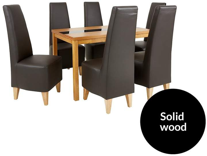 Evelyn 120 Cm Solid Wood And Glass Dining Table + 6 Manhattan Chairs