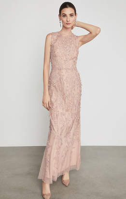 BCBGMAXAZRIA Sleeveless Lace Applique Gown