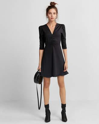 Express V-Neck Ruffle Hem Fit And Flare Dress