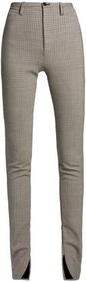 Hound's-tooth high-rise wool-blend trousers