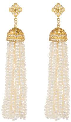 Freida Rothman Audrey Waterfall Tassel 2mm Pearl Earrings