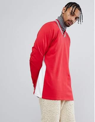 Asos DESIGN Oversized V Neck Sweatshirt With Contrast Side Panel