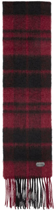 Saint Laurent Red and Black Plaid Small Scarf
