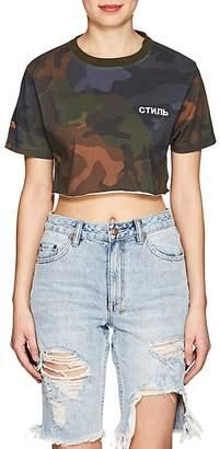 Heron Preston Women's Camouflage Cotton Crop T-Shirt