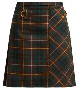Burberry Bulkley Tartan Wool Kilt - Womens - Green Multi