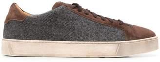 Santoni panel lace-up sneakers
