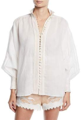Zimmermann Corsage Linear Embroidered Linen Button-Front Top
