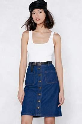 Nasty Gal You're Button to Something Denim Skirt