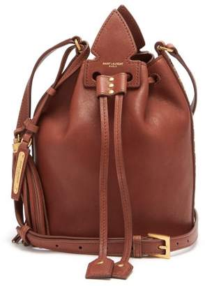Saint Laurent Anja Studded Leather Bucket Bag - Womens - Tan Multi