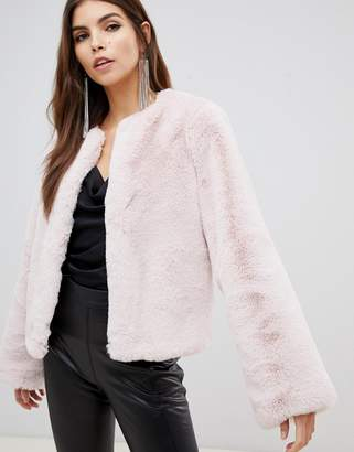 Lipsy fluffy faux fur jacket in pink pink