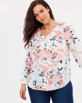 Evans Ivory Floral Printed V-Neck Shirt